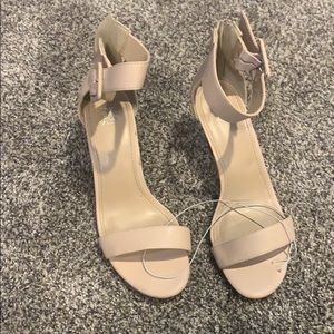 Blush pink feminine wedge sandals